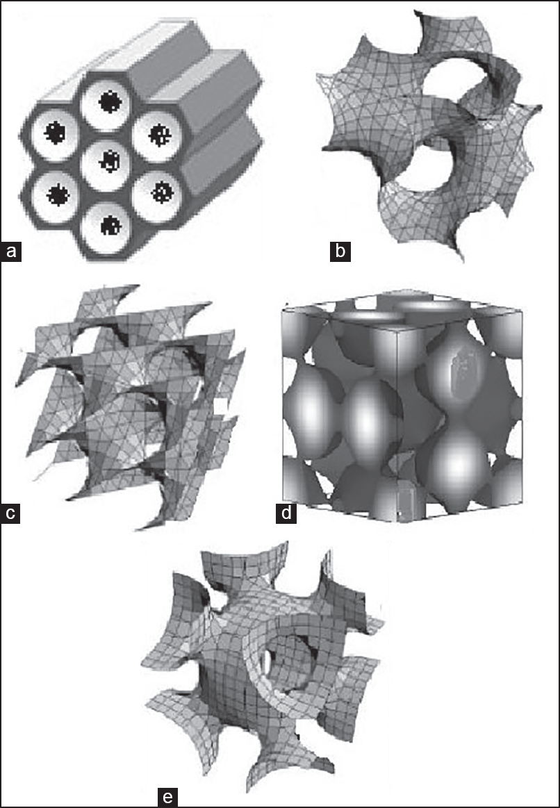 Various pore geometrics of mesoporous structure