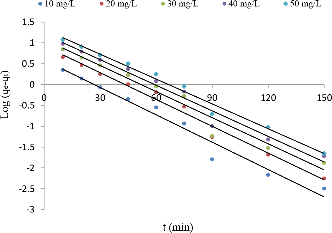Figure 1: Pseudo-first-order of CIP adsorption onto LM at different concentration