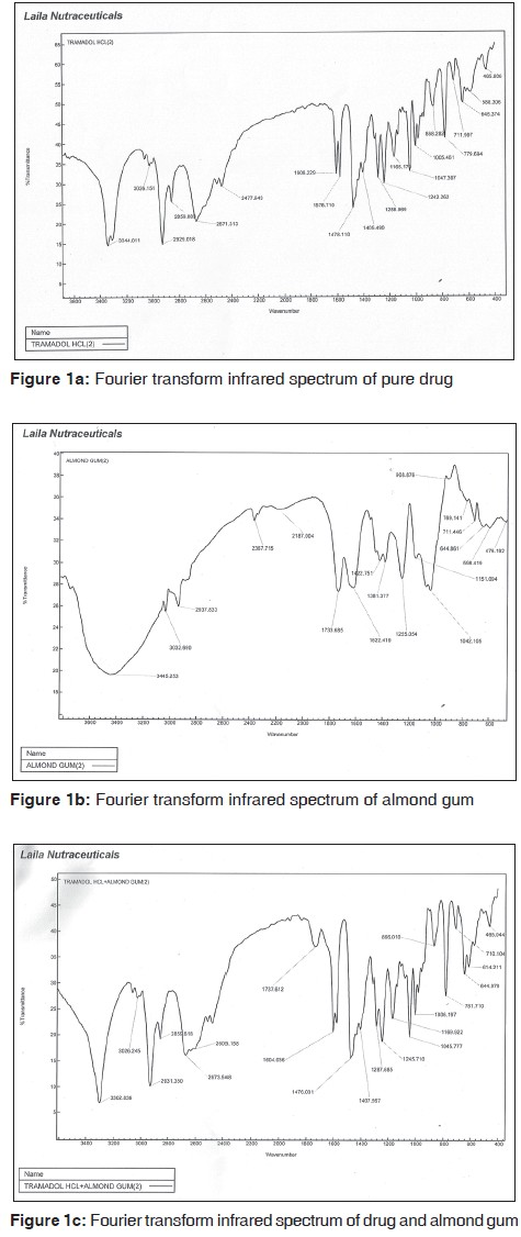 Fourier transform infrared spectrum of pure drug